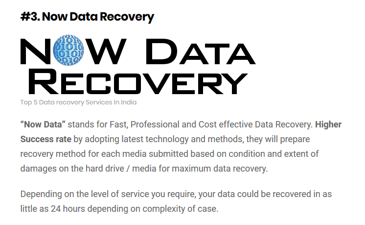 We are listed among the Top 5 Data Recovery Services in India 2017